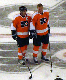 Hockey Photos - Philadelphia Flyers - Current Captain Mike Richards and Jeff Carter prior to a Flyers game on February 14