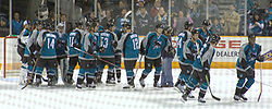 Hockey Photos - San Jose Sharks - The Sharks celebrate a 4-0 victory over the Phoenix Coyotes on December 11