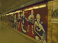 Hockey Photos - Toronto Maple Leafs - <i>Hockey Knights in Canada</i> mural in Toronto's College Station