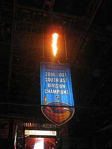 Hockey Photos - Atlanta Thrashers - Banner in Philips Arena in honor of the Thrashers' first division championship in 2006-2007.