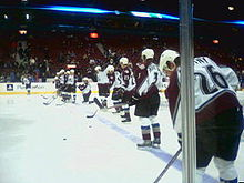 Hockey Photos - Colorado Avalanche - Avalanche players warming up in 2006