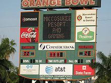 College Basketball Photos - Miami (Fl) Hurricanes - Miami Hurricanes scoreboard in the end zone of the Miami Orange Bowl in Miami