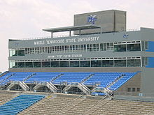 "College Basketball Photos - Middle Tennessee Blue Raiders - Pressbox at Johnny ""Red"" Floyd Stadium"