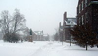 College Basketball Photos - Rochester (Ny) Yellow Jackets - Residence Quad during a snowstorm