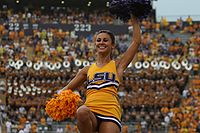 College Basketball Photos - Louisiana State Fighting Tigers - Louisiana State University cheerleader