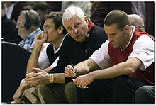 College Basketball Photos - Texas Tech Red Raiders - Bob Knight (middle) with Pat Knight (right)