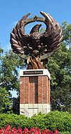 College Basketball Photos - Elon Phoenix - The Phoenix Rising statue