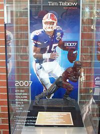 College Basketball Photos - Florida Gators - The 2007 Heisman Trophy won by Gators quarterback Tim Tebow.
