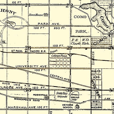 "College Basketball Photos - Hamline Pipers - In the center of this 1874 map is the new St. Paul Hamline University campus that was under construction. Here it is labeled ""College Place."""