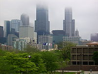 College Basketball Photos - Illinois-Chicago Flames - Another view of the Loop from UIC including the Willis Tower shrouded in spring fog.