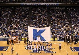 College Basketball Photos - Kentucky Wildcats - The Kentucky cheerleaders at Rupp Arena during a basketball game