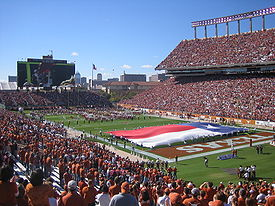 College Football Photos - Texas Longhorns - Darrell K. Royal-Texas Memorial Stadium with a view of the Godzillatron