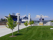 College Football Photos - Utah State Aggies - Romney Stadium from outside the south entrance