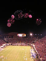 College Football Photos - Virginia Tech Hokies - Fireworks over Lane Stadium