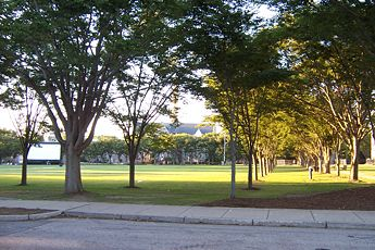 College Football Photos - Rhode Island Rams - Quadrangle on an early September evening at University of Rhode Island.