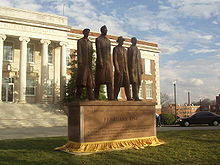 College Football Photos - North Carolina A&T Aggies - Greensboro four statue in front of Dudley Hall