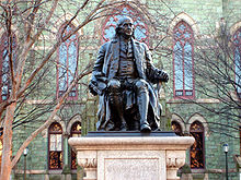 "College Football Photos - Pennsylvania Quakers - This statue of Benjamin Franklin donated by Justus C. Strawbridge to the City of Philadelphia in 1899 now sits in front of College Hall<sup id=""cite_ref-43"" class=""reference""><span>"