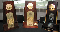 College Football Photos - Appalachian State Mountaineers - Appalachian's National Championship trophies
