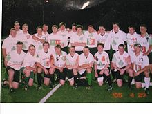 "College Football Photos - Fordham Rams - The Fordham ""Irish"" team pre-kickoff for the 2005 Spring Weekend rugby match."