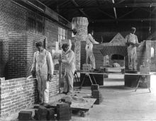 College Football Photos - Hampton Pirates - Students in an 1899 bricklaying class