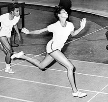 Olympics Photos - Wilma Rudolph - Wilma Rudolph at the finish line during 50 yard dash at track meet in Madison Square Garden