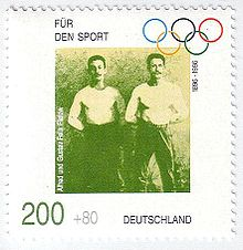 Olympics Photos - Alfred Flatow - Alfred and Gustav Flatow on a German stamp