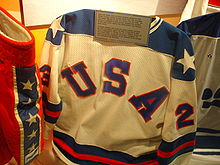 Olympics Photos - Dave Christian - Dave Christian's jersey from the 1980 Winter Olympics on display at the Hockey Hall of Fame