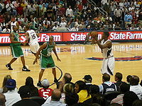Olympics Photos - Ray Allen - Allen guards Joe Johnson of the Atlanta Hawks in Game 4 of the 2008 NBA Playoffs.