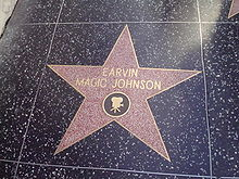 Olympics Photos - Magic Johnson - Magic Johnson's star on the Hollywood Walk of Fame