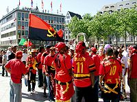 Soccer Photos - Angola National Football Team - Fans of the Angolan national football team in Cologne
