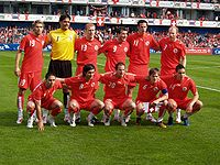 Soccer Photos - Switzerland National Football Team - The Swiss line-up against China