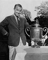 Golf Photos - Gene Sarazen - Gene Sarazen with the PGA Championship trophy