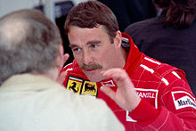 Motorsports Photos - Nigel Mansell - Mansell in Ferrari overalls at the 1990 United States Grand Prix.