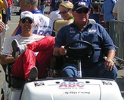Motorsports Photos - A.J. Foyt - A. J. Foyt (right) and former driver Darren Manning (left) at the 2007 Indianapolis 500.