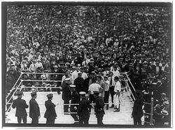 Boxing Photos - Jack Dempsey - Dempsey and Carpentier in the arena before the fight