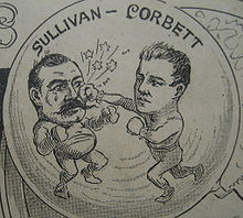 Boxing Photos - John L. Sullivan - Corbett licks Sullivan