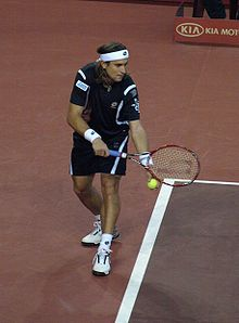 Tennis Photos - David Ferrer - David Ferrer serving during the 2007 Spanish National Masters Cup.