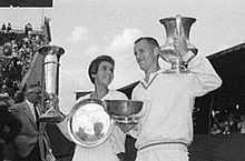 Tennis Photos - Neale Fraser - Neale Fraser and Maria Bueno as runners-up in the Mixed Doubles at the 1959 Wimbledon Championships to winners Darlene Hard and Rod Laver.