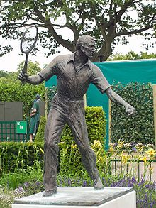 Tennis Photos - Fred Perry - A statue of Fred Perry at the All England Lawn Tennis Club in Wimbledon.