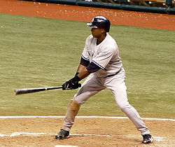 Baseball Photos - Bernie Williams - Bernie Williams at bat.