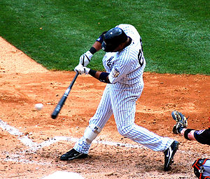 Baseball Photos - Robinson Canó - Canó batting for the Yankees in 2008.