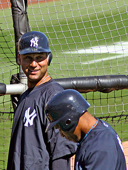 Baseball Photos - Derek Jeter - Jeter joking with other players during Spring Training.