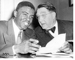 Baseball Photos - Branch Rickey - Branch Rickey signing Jackie Robinson for the Brooklyn Dodgers