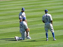 Baseball Photos - Andre Ethier - Ethier (top left) with Dodgers teammates Andruw Jones and Juan Pierre in 2008.