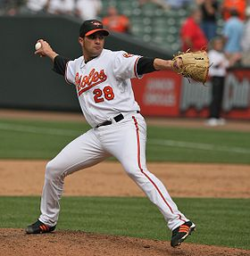 Baseball Photos - Danys Báez - Báez pitching for the Orioles in 2009.