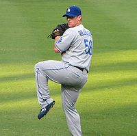 Baseball Photos - Chad Billingsley - Billingsley warming up before a game against the Atlanta Braves
