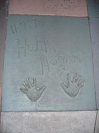 Sports Photos - Hulk Hogan - The handprints of Hulk Hogan in front of The Great Movie Ride at Walt Disney World's Disney's Hollywood Studios theme park