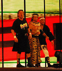 Sports Photos - Rowdy Roddy Piper - Piper with Ricky Steamboat and Jimmy Snuka before their match with Chris Jericho at WrestleMania XXV in 2009.