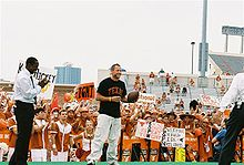 Sports Photos - Lance Armstrong - Armstrong (center) on the set of College GameDay during the 2006 UT football season