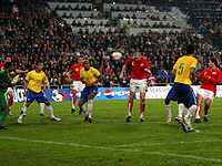 Soccer Photos - Philippe Senderos - Senderos playing for Switzerland in a match against Brazil